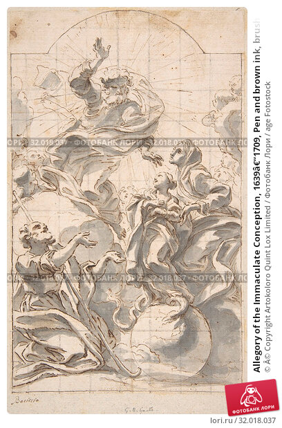 Купить «Allegory of the Immaculate Conception, 1639–1709, Pen and brown ink, brush and gray wash. Squared in black chalk, 9-3/4 x 5-15/16 in. (24.7 x 15.1 cm...», фото № 32018037, снято 22 мая 2017 г. (c) age Fotostock / Фотобанк Лори