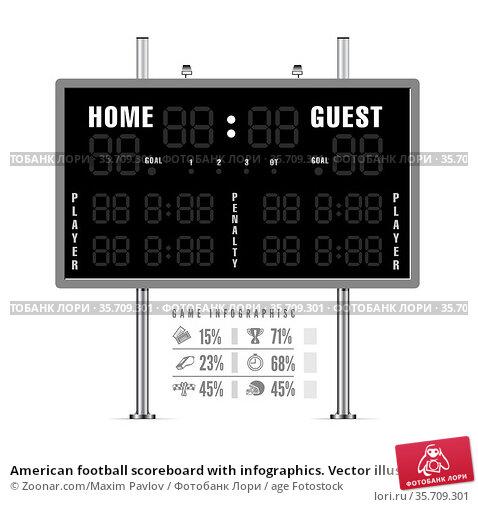 American football scoreboard with infographics. Vector illustration. Стоковое фото, фотограф Zoonar.com/Maxim Pavlov / age Fotostock / Фотобанк Лори