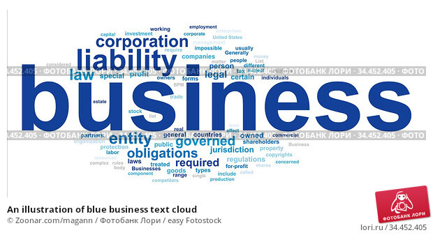 An illustration of blue business text cloud. Стоковое фото, фотограф Zoonar.com/magann / easy Fotostock / Фотобанк Лори