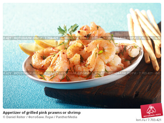 Купить «Appetizer of grilled pink prawns or shrimp», фото № 7703421, снято 20 марта 2019 г. (c) PantherMedia / Фотобанк Лори
