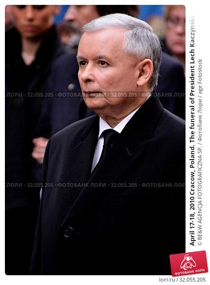 April 17-18, 2010 Cracow, Poland. The funeral of President Lech Kaczynski and his wife Maria who died in the Smolensk plane crash. Pictured: Jaroslaw Kaczynski. Редакционное фото, фотограф BE&W AGENCJA FOTOGRAFICZNA SP. / age Fotostock / Фотобанк Лори
