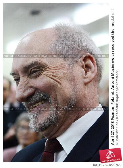 April 27, 2013 Poznan, Poland. Antoni Macierewicz received the medal of Duke Przemyslaw II. Редакционное фото, фотограф Mateusz Kina / age Fotostock / Фотобанк Лори