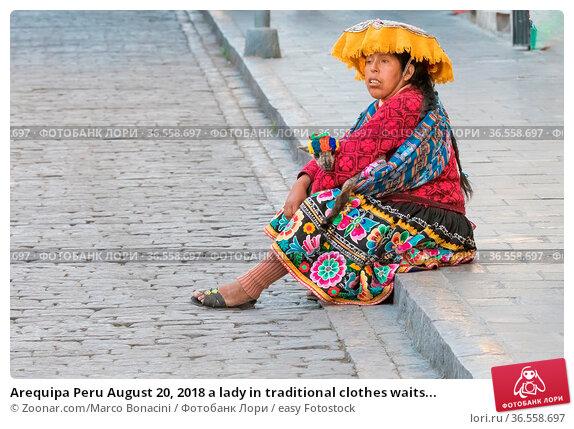 Arequipa Peru August 20, 2018 a lady in traditional clothes waits... Стоковое фото, фотограф Zoonar.com/Marco Bonacini / easy Fotostock / Фотобанк Лори