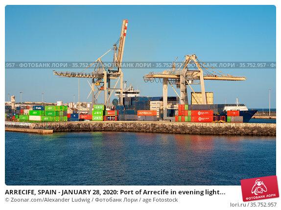 ARRECIFE, SPAIN - JANUARY 28, 2020: Port of Arrecife in evening light... Стоковое фото, фотограф Zoonar.com/Alexander Ludwig / age Fotostock / Фотобанк Лори