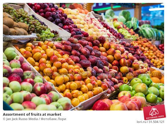 Купить «Assortment of fruits at market», фото № 31504121, снято 10 июля 2019 г. (c) Jan Jack Russo Media / Фотобанк Лори