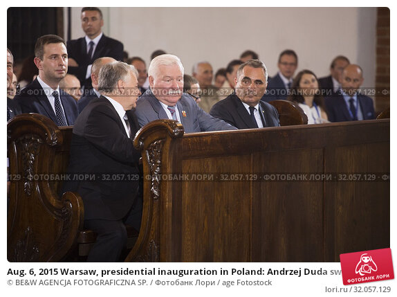 Aug. 6, 2015 Warsaw, presidential inauguration in Poland: Andrzej Duda sworn in as new Polish president. Holy mass at the Saint John's Warsaw Archsee. Pictured: Bogdan Borusewicz and Lech Walesa. Редакционное фото, фотограф BE&W AGENCJA FOTOGRAFICZNA SP. / age Fotostock / Фотобанк Лори