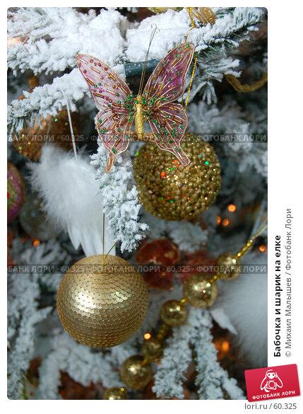 Купить «Бабочка и шарик на елке», фото № 60325, снято 20 октября 2006 г. (c) Михаил Малышев / Фотобанк Лори
