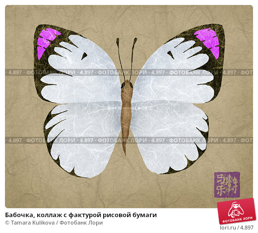 Бабочка, коллаж с фактурой рисовой бумаги, иллюстрация № 4897 (c) Tamara Kulikova / Фотобанк Лори