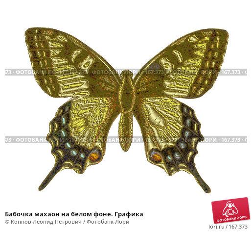 Бабочка махаон на белом фоне. Графика, иллюстрация № 167373 (c) Коннов Леонид Петрович / Фотобанк Лори