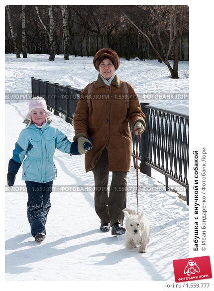 Купить «Бабушка с внучкой и собакой», фото № 1559777, снято 22 марта 2009 г. (c) Иван Бондаренко / Фотобанк Лори