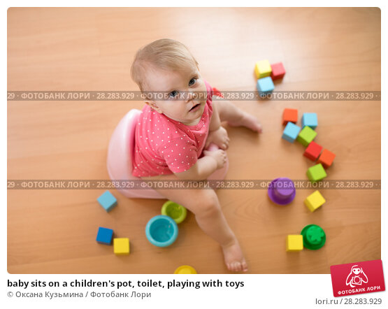 Купить «baby sits on a children's pot, toilet, playing with toys», фото № 28283929, снято 6 декабря 2019 г. (c) Оксана Кузьмина / Фотобанк Лори