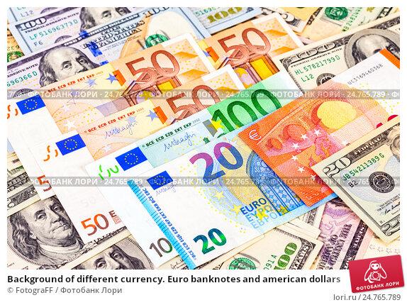Купить «Background of different currency. Euro banknotes and american dollars», фото № 24765789, снято 23 апреля 2019 г. (c) FotograFF / Фотобанк Лори