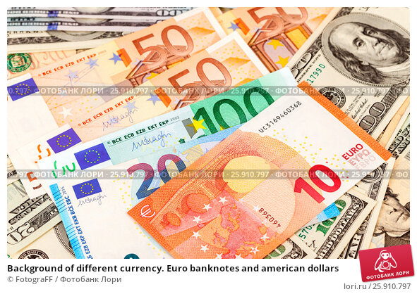 Background of different currency. Euro banknotes and american dollars. Стоковое фото, фотограф FotograFF / Фотобанк Лори