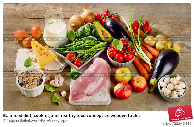 Купить «Balanced diet, cooking and healthy food concept on wooden table.», фото № 22949569, снято 20 января 2016 г. (c) Tatjana Baibakova / Фотобанк Лори