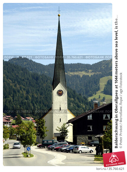 Balderschwang in Oberallgaeu at 1044 meters above sea level, is the... Стоковое фото, фотограф Peter Probst / age Fotostock / Фотобанк Лори