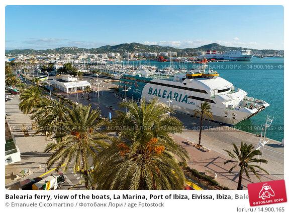 Купить «Balearia ferry, view of the boats, La Marina, Port of Ibiza, Eivissa, Ibiza, Balearic Islands, Spain, Mediterranean, Europe.», фото № 14900165, снято 21 июня 2018 г. (c) age Fotostock / Фотобанк Лори