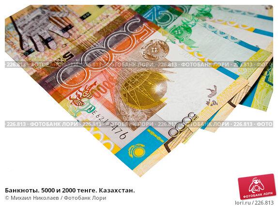 Банкноты. 5000 и 2000 тенге. Казахстан., фото № 226813, снято 19 марта 2008 г. (c) Михаил Николаев / Фотобанк Лори