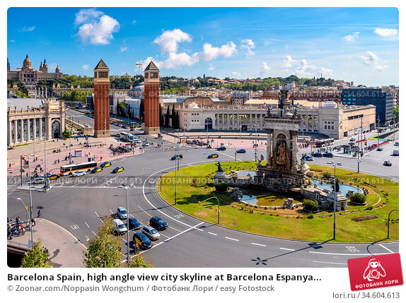 Barcelona Spain, high angle view city skyline at Barcelona Espanya... Стоковое фото, фотограф Zoonar.com/Noppasin Wongchum / easy Fotostock / Фотобанк Лори
