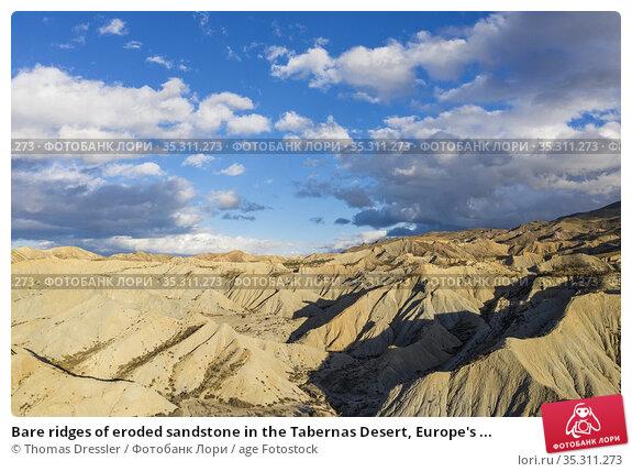 Bare ridges of eroded sandstone in the Tabernas Desert, Europe's ... Стоковое фото, фотограф Thomas Dressler / age Fotostock / Фотобанк Лори