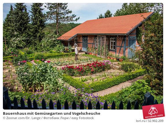 Bauernhaus mit Gemüsegarten und Vogelscheuche. Стоковое фото, фотограф Zoonar.com/Dr. Lange / easy Fotostock / Фотобанк Лори