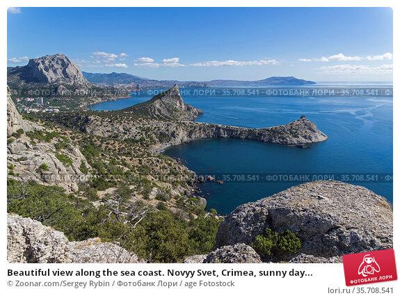 Beautiful view along the sea coast. Novyy Svet, Crimea, sunny day... Стоковое фото, фотограф Zoonar.com/Sergey Rybin / age Fotostock / Фотобанк Лори