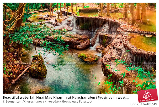 Beautiful waterfall Huai Mae Khamin at Kanchanaburi Province in west... Стоковое фото, фотограф Zoonar.com/Khoroshunova / easy Fotostock / Фотобанк Лори