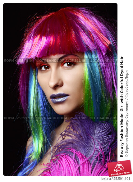 Купить «Beauty Fashion Model Girl with Colorful Dyed Hair», фото № 25591101, снято 6 апреля 2015 г. (c) Воронин Владимир Сергеевич / Фотобанк Лори
