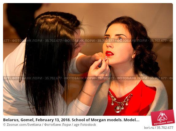 Belarus, Gomel, February 13, 2018. School of Morgan models. Model... Стоковое фото, фотограф Zoonar.com/Svetlana / age Fotostock / Фотобанк Лори