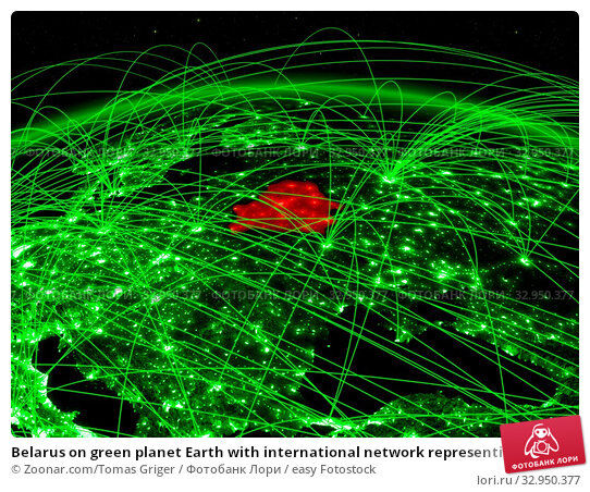 Belarus on green planet Earth with international network representing communication, travel and connections. 3D illustration. Elements of this image furnished by NASA. Стоковое фото, фотограф Zoonar.com/Tomas Griger / easy Fotostock / Фотобанк Лори