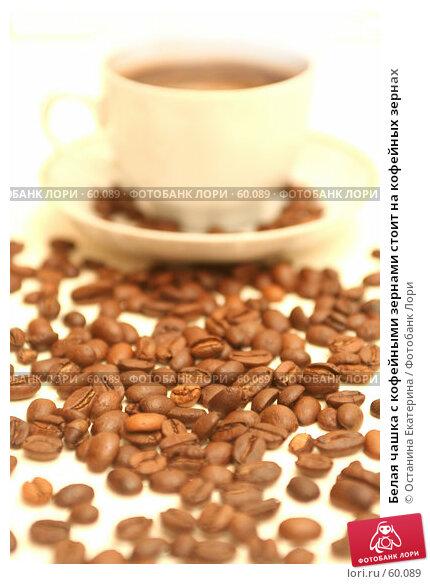 Белая чашка с кофейными зернами стоит на кофейных зернах, фото № 60089, снято 3 ноября 2006 г. (c) Останина Екатерина / Фотобанк Лори