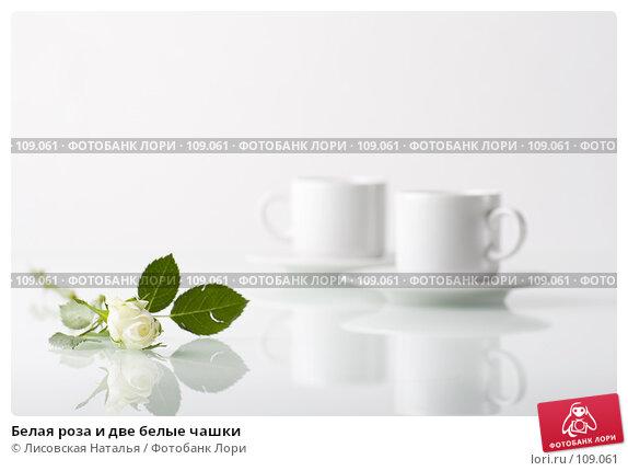 Белая роза и две белые чашки, фото № 109061, снято 1 ноября 2007 г. (c) Лисовская Наталья / Фотобанк Лори