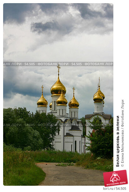 Белая церковь в зелени, фото № 54505, снято 26 марта 2017 г. (c) Елена Мельникова / Фотобанк Лори