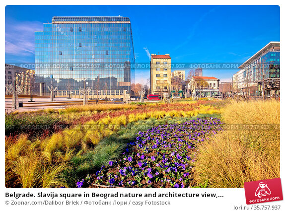 Belgrade. Slavija square in Beograd nature and architecture view,... Стоковое фото, фотограф Zoonar.com/Dalibor Brlek / easy Fotostock / Фотобанк Лори