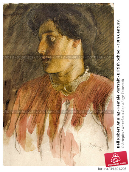 Bell Robert Anning - Female Portrait - British School - 19th Century. Стоковое фото, фотограф Artepics / age Fotostock / Фотобанк Лори