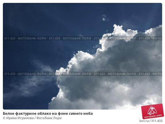Белое фактурное облако на фоне синего неба, фото № 311433, снято 13 мая 2008 г. (c) Ирина Игумнова / Фотобанк Лори