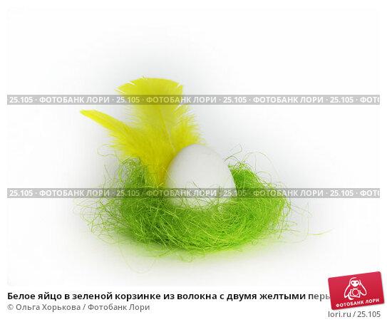 Белое яйцо в зеленой корзинке из волокна с двумя желтыми перышками, фото № 25105, снято 20 марта 2007 г. (c) Ольга Хорькова / Фотобанк Лори
