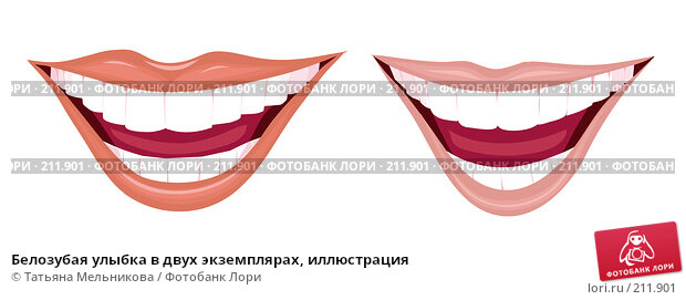 Белозубая улыбка в двух экземплярах, иллюстрация, иллюстрация № 211901 (c) Татьяна Мельникова / Фотобанк Лори