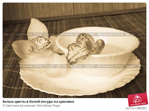 Белые цветы в белой посуде на циновке, фото № 288857, снято 22 января 2008 г. (c) Светлана Кучинская / Фотобанк Лори