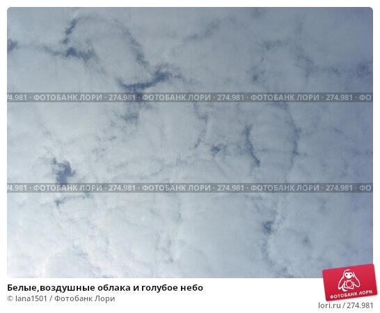 Белые,воздушные облака и голубое небо, эксклюзивное фото № 274981, снято 6 мая 2008 г. (c) lana1501 / Фотобанк Лори
