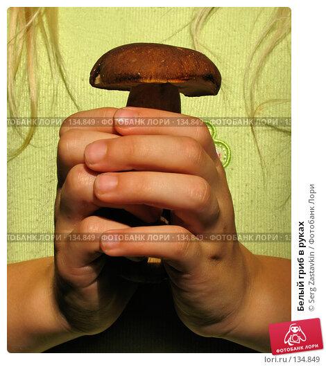 Белый гриб в руках, фото № 134849, снято 30 июля 2005 г. (c) Serg Zastavkin / Фотобанк Лори