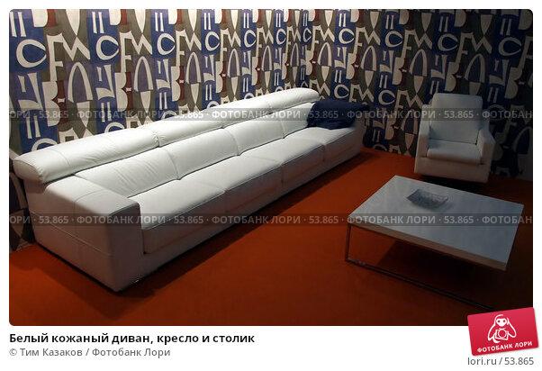 Белый кожаный диван, кресло и столик, фото № 53865, снято 19 мая 2007 г. (c) Тим Казаков / Фотобанк Лори