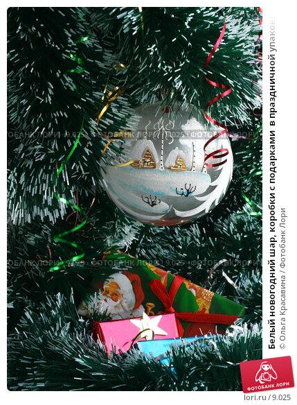 Купить «Белый новогодний шар, коробки с подарками  в праздничной упаковке на ели», фото № 9025, снято 11 сентября 2006 г. (c) Ольга Красавина / Фотобанк Лори