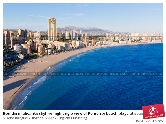 Купить «Benidorm alicante skyline high angle view of Poniente beach playa at spain», фото № 28499997, снято 21 января 2014 г. (c) Ingram Publishing / Фотобанк Лори