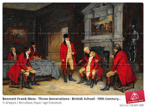 Bennett Frank Moss - Three Generations - British School - 19th Century... Стоковое фото, фотограф Artepics / age Fotostock / Фотобанк Лори