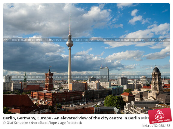 Berlin, Germany, Europe - An elevated view of the city centre in Berlin Mitte with the TV tower at Alexanderplatz Square and the Rotes Rathaus town hall. Стоковое фото, фотограф Olaf Schuelke / age Fotostock / Фотобанк Лори