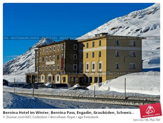 Bernina Hotel im Winter, Bernina Pass, Engadin, Graubüden, Schweiz... Стоковое фото, фотограф Zoonar.com/GFC Collection / age Fotostock / Фотобанк Лори