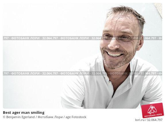 Best ager man smiling. Стоковое фото, фотограф Benjamin Egerland / age Fotostock / Фотобанк Лори