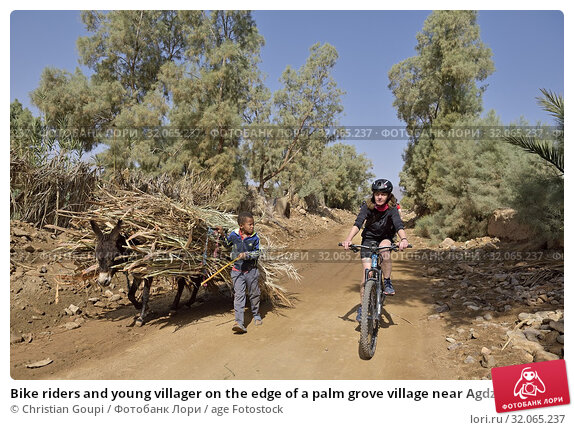 Bike riders and young villager on the edge of a palm grove village near Agdz, Draa River valley, Province of Zagora, Region Draa-Tafilalet, Morocco, North West Africa. (2019 год). Редакционное фото, фотограф Christian Goupi / age Fotostock / Фотобанк Лори