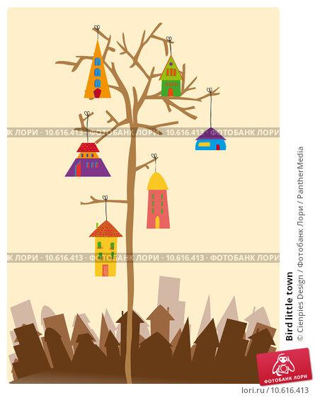 Bird little town. Стоковая иллюстрация, иллюстратор Cienpies Design / PantherMedia / Фотобанк Лори