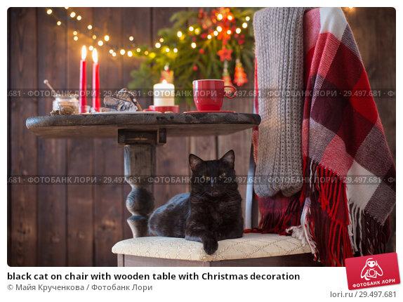 Купить «black cat on chair with wooden table with Christmas decoration», фото № 29497681, снято 26 ноября 2018 г. (c) Майя Крученкова / Фотобанк Лори